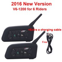 Wholesale Headsets For Motorcycles - Wholesale- 2pcs V6 Multi BT Interphone 1200M Motorcycle Bluetooth Helmet Intercom intercomunicador moto interfones headset for 6 Rider