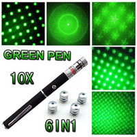 Hot 10PC 6in1 Green Laser 532nm 5mW Ray Beam Light Pointeur Laser Pen Presenter 6 Styles Différents Patterns Lazer Avec Star Caps
