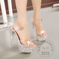 Wholesale Womens Slingback Shoes - Extreme High Heel Prom Womens Shoes Heels Transparent Jelly Sandals Club Hasp Sexy Slingback Pvc Plus Size Fashion Platforms