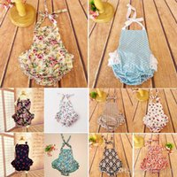 Wholesale Hanging Girls Neck - 40 styles INS new styles New Arrivals Hot sell infant girl Summer Neck hanging Bandage High quality 100% cotton little flower print romper