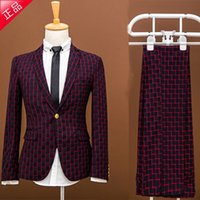 Wholesale Married Dress Man - Wholesale- 2017 new Plaid suit set the groom married male slim spring formal dress male suit piece set prom party blazer trousers