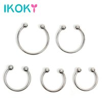 Wholesale Silver Sex - IKOKY Silver Delay Ejaculation Stainless Steel Penis Ring Cock Ring Male Chastity Device Adult Products Sex toys for Men q170718