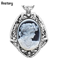 """Wholesale Cameo Necklace Crystals - Wholesale-Vintage Look Antique Silver Plated Lady Queen Cameo Leaf Crystal Pendant Necklace 28"""" TN89"""