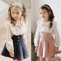 zebra kleider kinder baby großhandel-Großhandelsbaby-Kleidungs-Frühlings-Kinderkleidung Baby-Mädchen-langes Hülsen-Blumen-Hemd-Kleid-Rock-Satz 2 Stück-Sätze mit hoher Qualität