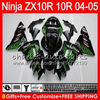 kawasaki zx r carenados al por mayor-8Gifts 23Colors Body For KAWASAKI NINJA ZX 10 R ZX10R 04 05 06 07 35HM15 verde negro ZX 10R ZX1000 C ZX1000C 04 ZX-10R 2004 2005 kit de carenado
