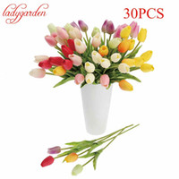 30pcs / lot Tulip Artificial Flower Cheap PU Plastic Bouquet Real Touch Flowers para Home Wedding Decorative Fake Flowers Wreaths