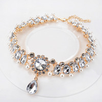 Wholesale Twisted Pearl Rhinestone Necklace - New Brand jewelry necklaces choker 18k Golden Pearls Diamonds Rhinestones Crystal Jewelry Wholesale Chokers For Party Dating Wedding jewelry
