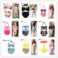 Wholesale Bikinis Small - INS 9 style girl kids bikini summer girl Striped flowers swimsuit Small fresh sling two pieces swimsuit