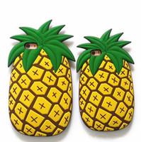 ingrosso yellow iphone covers-Caso della copertura della gomma di silicone molle dell'ananas giallo fresco dell'ananas della frutta del fumetto 3D sveglio per Iphone 5s 6 6splus 7 7plus