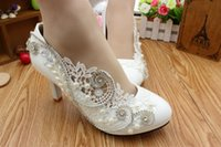 Wholesale European American Crystal Shoes - European and American fashion high heel wedding shoes Crystal sequined dress collocation of the bride shoes Shining diamond lace shoes