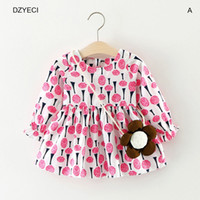 Wholesale Korean Frocks - Autumn Baby Girl Sunflower Dresses Clothes Korean Kid Flower Print Party Princess Frock Toddler Children Clothes Costume