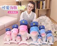 Wholesale Plush Caps - 2017NEWNavy sailor cap dolphin plush toy doll pillow birthday gift ideas couples wedding doll