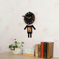 Wholesale Black Artwork Pictures - Cartoon Wall Clock Pictures Characters Of Wooden Craft Clocks Recycled Art Nursery Wall Decal Home Artwork Poster Room Decorations