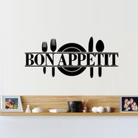 Wholesale Dining Stickers - New Style Removable Kitchen Dining Room Decor Bon Appetit Decals Vinyl Wall Sticker DIY