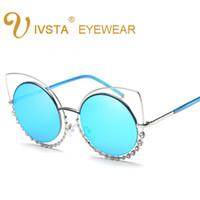 Wholesale Ring Pilot - IVSTA 2017 Fashion Sunglasses Women So Nice Real Double Diamond Ring Cat Eye Sunglasses Woman Pink Mirror Lenses