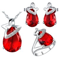 Wholesale Foreign trade order set silver plated K gold tail super flash crystal style red corundum