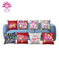 Wholesale Fabric Light Covers - muchun Brand LED RGB 5V Light Pillow Case For Christmas Gift Colorful Party 45cm*45cm Decorative Fabric Non Woven Sofa Pillow Cover