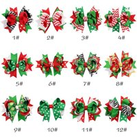 Wholesale Pink Zebra Print Ribbon - Children Hair Accessories Christmas baby girls hair clips ribbon bow hairpins X-mas gift zebra striped dots snow flowers print kids barrette