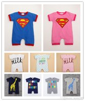 Wholesale Girl Boxers Shorts - 2017 summer newborn boxer Romper infant short sleeved baby conjoined climbing clothes wholesale