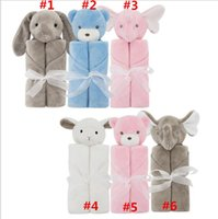 Wholesale coral toys resale online - 50Pcs Baby Bedding Blanket Rabbit Bear Elephant Animal Toy Head Soft Blanket Newborn g Swaddle Wrap76 cm Coral Fleece Plush Blankets
