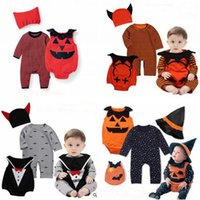 Wholesale Baby Boys Long Sleeve Vest - Halloween Baby Clothes Devil Vampire Pumpkin Hat Rompers Vest 3pcs Sets Newborn Boy Jumpsuits Toddler Girls Boys Overalls Infant Baby Suit
