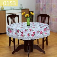 Wholesale Plastic Table Cloth Round - Pastoral PVC Round Table Cloth Waterproof Oilproof Floral Printed Lace Edge Plastic Table Covers Anti Hot Coffee Tablecloths CC001