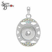Wholesale Oval Buttons - Free shipping New Fashion DIY Jewelry Rainbow Crystal Oval Snaps Button Pendant Necklace Fit 18mm Susan Button Charms 43*23mm SJSB3910