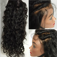 işlenmemiş brezilya insan saç perukları toptan satış-Sınıf 8A Su Dalga Tam Dantel Peruk / Dantel Ön Peruk Bebek Saç 100% Siyah Kadınlar Için Brezilyalı İşlenmemiş Virgin İnsan Saç Peruk