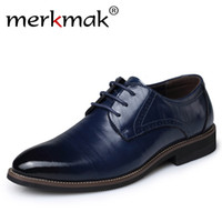 Atacado - Merkmak Big Size Oxfords Men Shoes Moda Casual Newly Pointed Top Formal Business Masculino Ame Up Wedding Dress Flats Wholesales