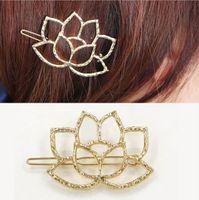 accesorios para el cabello celta al por mayor-Clips hueco plateado de oro de Lotus pelo de la flor joyería de accesorios horquillas del pelo de las mujeres elegantes de los pernos de pelo de la vendimia