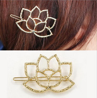 Wholesale Wholesale Vintage Hair Pins - Golden Plated Hollow Lotus Flower Hair Clips Hairpins Women Hair Jewelry Accessory Elegant Vintage Hair Pins