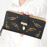 Wholesale Leaf Card Pocket - 2017 Hot Selling!Long hollow leaf women wallet lady pu leather purse brand HASP and zipper coin purse fashion girl card holders