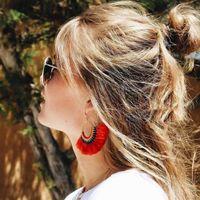 Wholesale Long Silk Earrings - 2017 new fashion, Bohemia wind, retro silk, knitting earrings, personality trend, fan-shaped fringe, long Stud Earrings