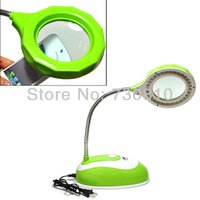 Wholesale Lighted Magnifiers Desktop - Wholesale-Hands-free LED Energy Saving Desk Light With Magnifier Desk Lamp Helping Hand Repair Stand Desktop Magnifying Tool, US Plug