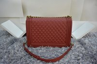 Wholesale Mini Motorcycles Red - Red Caviar Bags Luxury Women Shoulder Bags Original Quality Hard Leather Plaid Mini Flap Shoulder Bags 67087