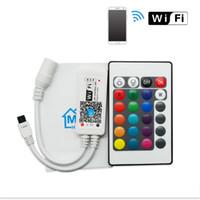 controlador conduzido rgb do andróide venda por atacado-LED MIni WIFI Controlador RGBW RGBW Controlador com 24key remoto IOS / Android Telefone Móvel sem fio para RGB / RGBW LED Strip DC5-12V