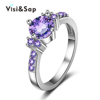 Wholesale Wholesale Jewelry Sets Purple - Visisap Purple stone CZ stone Jewelry Rings For Women cubic zircon jewellery Party Wedding White gold color ring VSR199