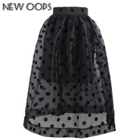 black oops - OOPS Fashion High Waist Skirts Womens Black Tulle Princess Mesh Organza skirt Polka Dots Ball Gown Saias Femininas Plus Size