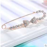 Wholesale Brooch Pin Clip Silver - Diamond big pin brooches women deserve to act the role of brooch shirt clip chain scarves buckle pins