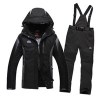 Wholesale Men s Ski Suit Waterproof Windproof Ski Jacket Trousers Thicken Warm Clothing Pants Men Snowboard Mountaine