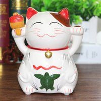 Wholesale House Piggy Bank - house decoration crafts #a 5 Inch Ceramic Lucky Cat piggy bank insurance Creative Gifts Gifts Articles