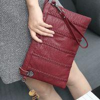 Wholesale Grey Knit Korean Style - 2017 Latest women shoulder bags great leather clutch bag fashion womans messenger bags ladies Envelope Clutches handbag Korean style