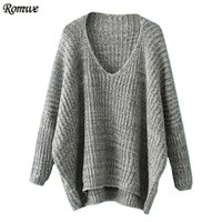 Wholesale Plain Pullover Sweater - Wholesale- ROMWE Womens Casual Loose Pullovers For Autumn Ladies Plain V Neck Long Batwing Sleeve Dip Hem Oversized Sweater