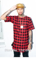 Wholesale Tyga Style Clothes - Hip hop cool Men's last kings t shirt ,Red plaid Golden side zipper hip-hop short-sleeved T-shirt tee swag Tyga Style clothing