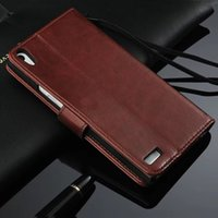 Wholesale Cover For Huawei Ascend P6 - For Huawei Ascend P6 P7 Luxury Retro Crazy Horse Wallet Leather Cover Case With Card Slots Stand Phone Bags Case