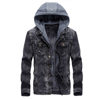Wholesale Mens Long Coat Pattern - Mens Hooded Denim Jacket Winter Coats Jeans Jackets For Man Thicker Warm Outwear Overcoat Tops Brand Joobox XL XXL New Arrival