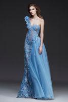 Wholesale One Shoulder Sequin Net Dress - Vintage Light Sky Blue One Shoulder Evening Dresses 2016 Floral Appliques Lace Formal Party Gowns 2016 Modest Illusion Nets Bridal Dresses