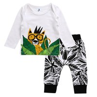 Wholesale Wholesale Tiger Tee - baby Boys Clothing Sets long short Sleeve Cotton Cute Tiger Printed Tops Shirt Tee + Long Pants 2pcs Set Suits Boy Clothes A7315