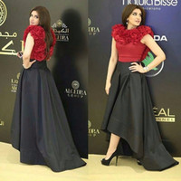 Wholesale Gorgeous Evening Gowns Cheap - Gorgeous Red And Black High Low Evening Gowns 2017 Sleeveless Satin Prom Dresses Saudi Arabic Cocktail Formal Party Dress Cheap