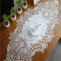 Wholesale Embroidered Placemat - Free Shipping New polyester hollow Embroidered jacquard ablecloth Cup Mat Table Cover Table Runner placemat for wedding home party Christmas